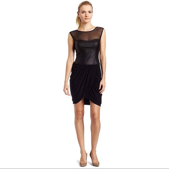 BCBGMaxAzria Dresses & Skirts - BCBG Black Leather and Mesh Contrast Drape Dress